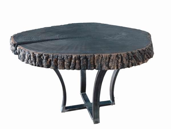 """BURNI Stolik kawowy z litego drewna wykonany z """"palonego drewna"""" ze stalową ramą"""