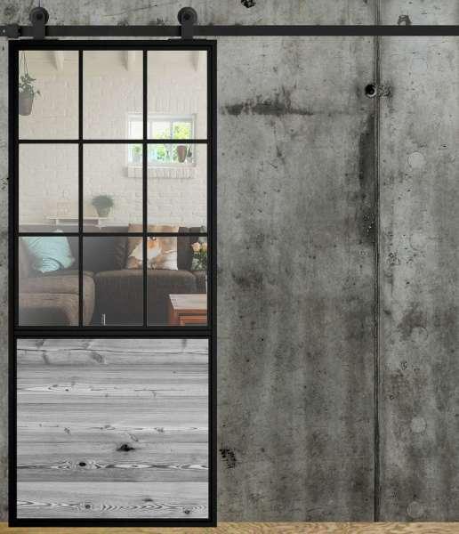 LOFT FRENCH 02 Schiebetür aus Stahl, Glas und Holz, Auswahlmöglichkeit