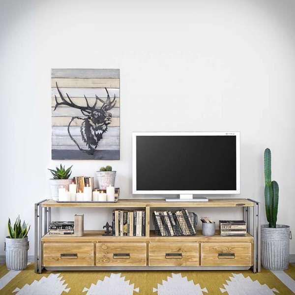 STEEL WOOD 180 Lowboard- TV Schrank Industrial -LoftMarkt