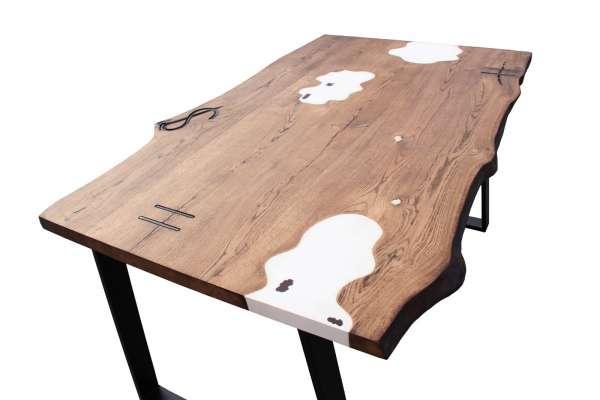 COUNTRY – Esstisch aus Massivholz mit Epoxidharz 90-100x180cm-LoftMarkt
