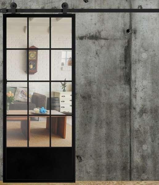 LOFT FRENCH 04 drzwi przesuwne ze ze szkła i stali, opcje wyboru