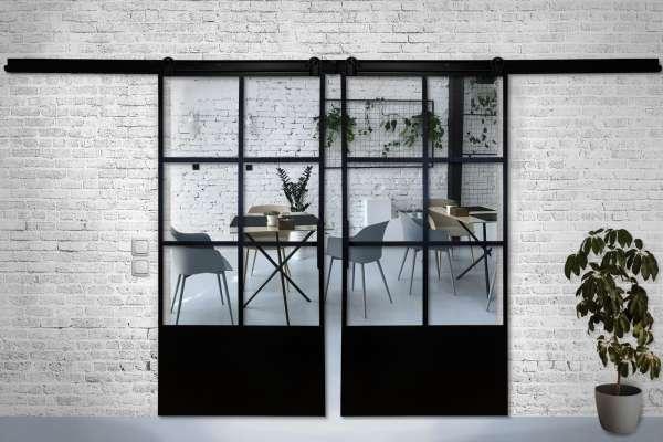 LOFT MOD DOUBLE Doppelschiebetür Komplettset, Stahl & Glas -LoftMarkt