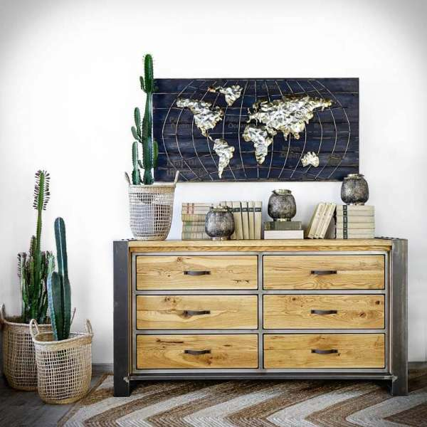 Industrielle Kommode mit Holzschubladen FACTORY-LoftMarkt