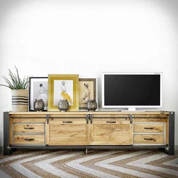 FACTORY PREMIUM Lowboard 225 cm, Fernsehschrank im Industriellen Stil -LoftMarkt