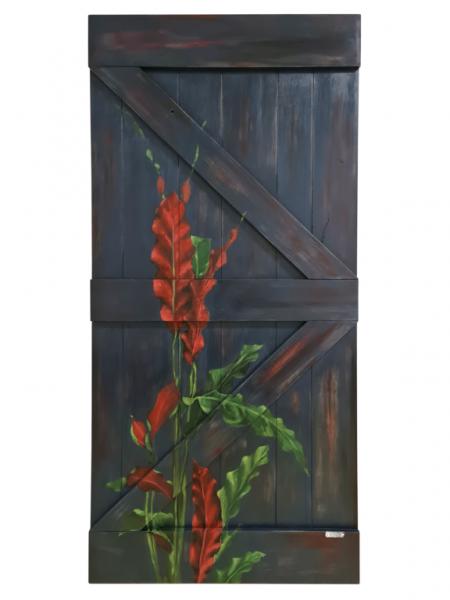 LOST PARADISE Schiebetür mit handgemalten exotischen Blumen